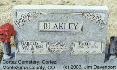 BLAKLEY, HAROLD G. - Montezuma County, Colorado | HAROLD G. BLAKLEY - Colorado Gravestone Photos