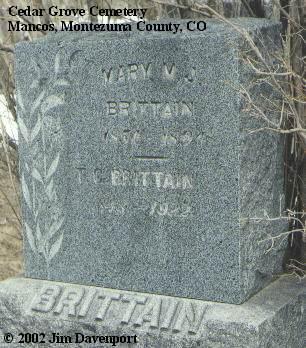 BRITTAIN, MARY M. J. - Montezuma County, Colorado | MARY M. J. BRITTAIN - Colorado Gravestone Photos