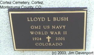 BUSH, LLOYD L. - Montezuma County, Colorado | LLOYD L. BUSH - Colorado Gravestone Photos