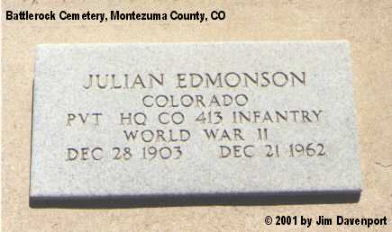 EDMONSON, JULIAN - Montezuma County, Colorado | JULIAN EDMONSON - Colorado Gravestone Photos
