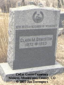 ORMISTON, CLARA M. - Montezuma County, Colorado | CLARA M. ORMISTON - Colorado Gravestone Photos