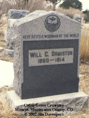 ORMISTON, WILL C. - Montezuma County, Colorado | WILL C. ORMISTON - Colorado Gravestone Photos
