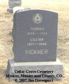RICKNER, THOMAS - Montezuma County, Colorado | THOMAS RICKNER - Colorado Gravestone Photos