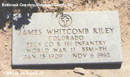 RILEY, JAMES WHITCOMB - Montezuma County, Colorado   JAMES WHITCOMB RILEY - Colorado Gravestone Photos
