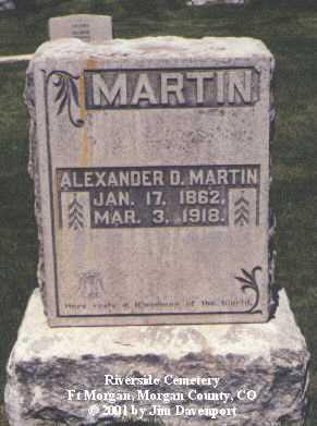 MARTIN, ALEXANDER D. - Morgan County, Colorado | ALEXANDER D. MARTIN - Colorado Gravestone Photos