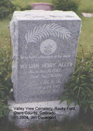 ALLEN, WILLIAM HENRY - Otero County, Colorado | WILLIAM HENRY ALLEN - Colorado Gravestone Photos