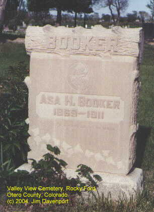 BOOKER, ASA H. - Otero County, Colorado | ASA H. BOOKER - Colorado Gravestone Photos