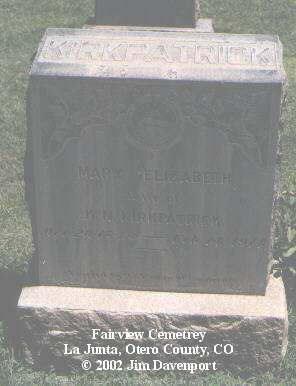 KIRKPATRICK, MARY ELIZABETH - Otero County, Colorado | MARY ELIZABETH KIRKPATRICK - Colorado Gravestone Photos