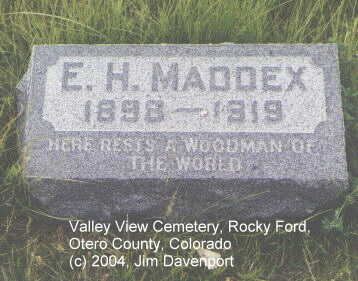 MADDEX, E. H. - Otero County, Colorado | E. H. MADDEX - Colorado Gravestone Photos