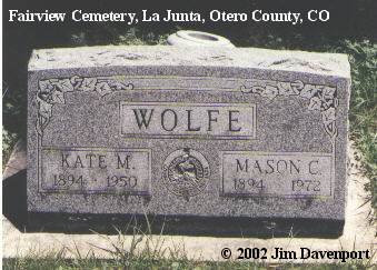 WOLFE, KATE M. - Otero County, Colorado | KATE M. WOLFE - Colorado Gravestone Photos