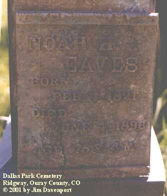 EAVES, NOAH H. - Ouray County, Colorado | NOAH H. EAVES - Colorado Gravestone Photos