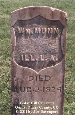 MUNN, WM. - Ouray County, Colorado | WM. MUNN - Colorado Gravestone Photos