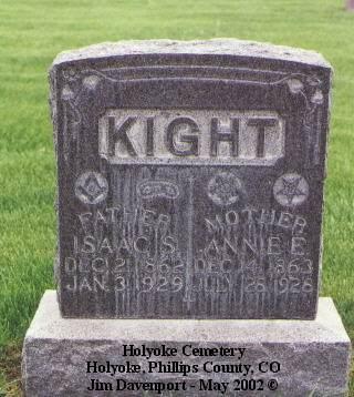 KIGHT, ISAAC S. - Phillips County, Colorado | ISAAC S. KIGHT - Colorado Gravestone Photos