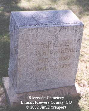 COXHEAD, S. H. - Prowers County, Colorado | S. H. COXHEAD - Colorado Gravestone Photos