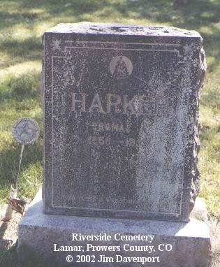 HARKER, THOMAS J. - Prowers County, Colorado | THOMAS J. HARKER - Colorado Gravestone Photos