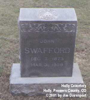 SWAFFORD, JOHN - Prowers County, Colorado | JOHN SWAFFORD - Colorado Gravestone Photos