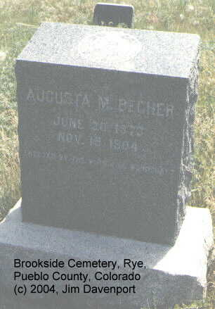 BECHER, AUGUSTA M. - Pueblo County, Colorado | AUGUSTA M. BECHER - Colorado Gravestone Photos