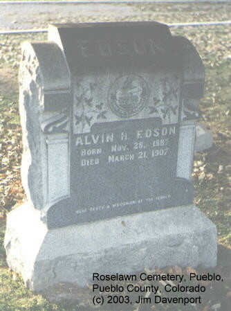 EDSON, ALVIN H. - Pueblo County, Colorado | ALVIN H. EDSON - Colorado Gravestone Photos