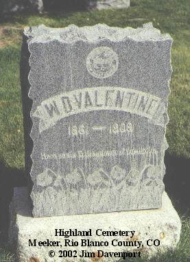 VALENTINE, W. D. - Rio Blanco County, Colorado | W. D. VALENTINE - Colorado Gravestone Photos