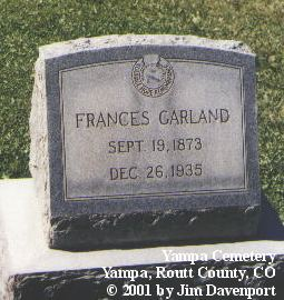 GARLAND, FRANCES - Routt County, Colorado | FRANCES GARLAND - Colorado Gravestone Photos