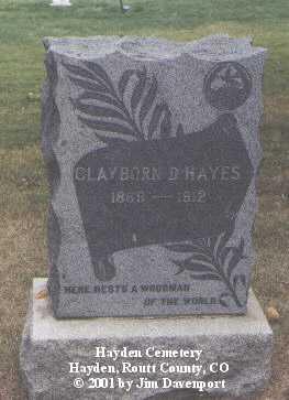 HAYES, CLAYBORN D. - Routt County, Colorado | CLAYBORN D. HAYES - Colorado Gravestone Photos
