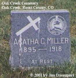 MILLER, AGATHA C. - Routt County, Colorado | AGATHA C. MILLER - Colorado Gravestone Photos