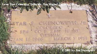 CHENOWETH, STAR S. JR. - San Miguel County, Colorado | STAR S. JR. CHENOWETH - Colorado Gravestone Photos