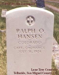 HANSEN, RALPH O. - San Miguel County, Colorado | RALPH O. HANSEN - Colorado Gravestone Photos