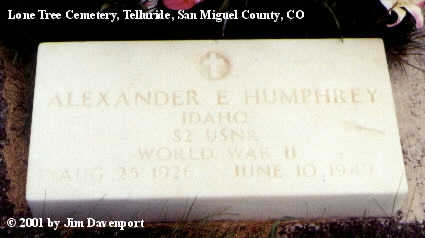 HUMPHREY, ALEXANDER E. - San Miguel County, Colorado   ALEXANDER E. HUMPHREY - Colorado Gravestone Photos