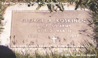 KOSKINEN, GEORGE A. - San Miguel County, Colorado | GEORGE A. KOSKINEN - Colorado Gravestone Photos