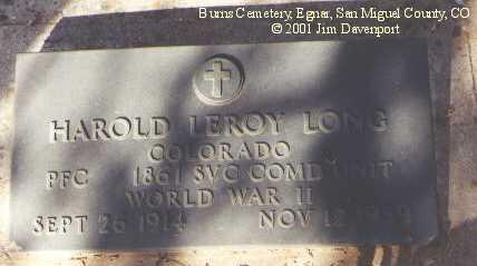 LONG, HAROLD LEROY - San Miguel County, Colorado | HAROLD LEROY LONG - Colorado Gravestone Photos