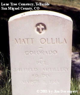 OLLILA, MATT - San Miguel County, Colorado | MATT OLLILA - Colorado Gravestone Photos