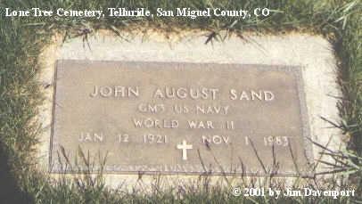 SAND, JOHN AUGUST - San Miguel County, Colorado | JOHN AUGUST SAND - Colorado Gravestone Photos