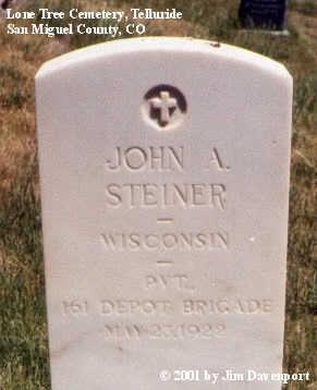 STEINER, JOHN A. - San Miguel County, Colorado | JOHN A. STEINER - Colorado Gravestone Photos