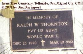 THORNTON, RALPH W. - San Miguel County, Colorado | RALPH W. THORNTON - Colorado Gravestone Photos