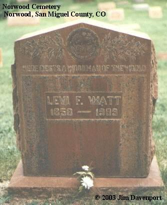 WATT, LEVI F. - San Miguel County, Colorado | LEVI F. WATT - Colorado Gravestone Photos