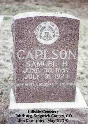 CARLSON, SAMUEL H. - Sedgwick County, Colorado   SAMUEL H. CARLSON - Colorado Gravestone Photos