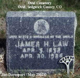 LAW, JAMES H. - Sedgwick County, Colorado | JAMES H. LAW - Colorado Gravestone Photos