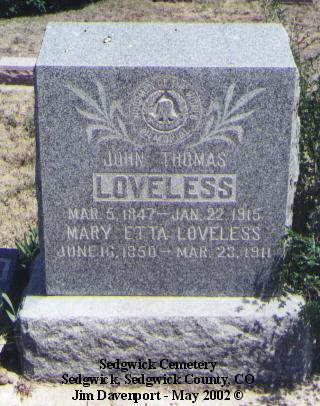 LOVELESS, MARY ETTA - Sedgwick County, Colorado | MARY ETTA LOVELESS - Colorado Gravestone Photos