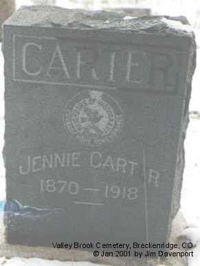 CARTER, JENNIE - Summit County, Colorado | JENNIE CARTER - Colorado Gravestone Photos