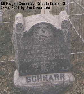 SCHNARR, HATTIE L. - Teller County, Colorado | HATTIE L. SCHNARR - Colorado Gravestone Photos