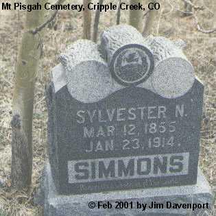 SIMMONS, SYLVESTER N. - Teller County, Colorado | SYLVESTER N. SIMMONS - Colorado Gravestone Photos