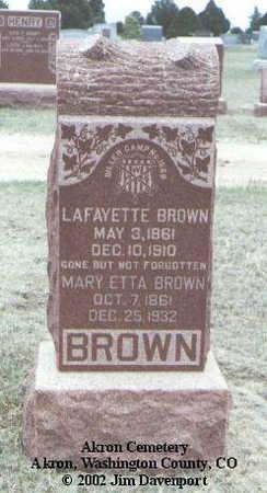 BROWN, LAFAYETTE - Washington County, Colorado | LAFAYETTE BROWN - Colorado Gravestone Photos