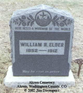 ELDER, WILLIAM R. - Washington County, Colorado | WILLIAM R. ELDER - Colorado Gravestone Photos