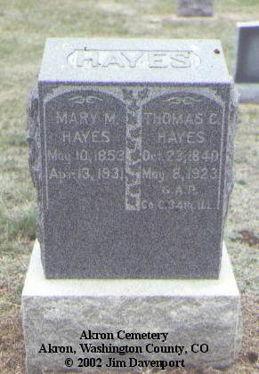 HAYES, MARY M. - Washington County, Colorado | MARY M. HAYES - Colorado Gravestone Photos