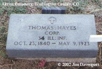 HAYES, THOMAS C. - Washington County, Colorado | THOMAS C. HAYES - Colorado Gravestone Photos