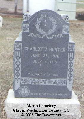 HUNTER, CHARLOTTA - Washington County, Colorado | CHARLOTTA HUNTER - Colorado Gravestone Photos