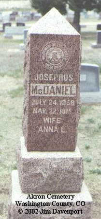 MCDANIEL, JOSEPHUS - Washington County, Colorado | JOSEPHUS MCDANIEL - Colorado Gravestone Photos